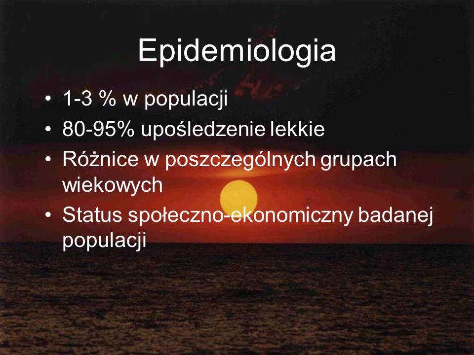 Epidemiologia 1-3 % w populacji 80-95% upośledzenie lekkie Różnice w poszczególnych grupach wiekowych Status społeczno-ekonomiczny badanej populacji