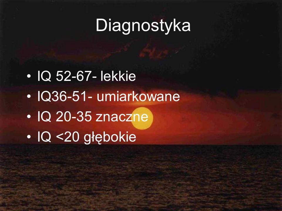 Diagnostyka IQ 52-67- lekkie IQ36-51- umiarkowane IQ 20-35 znaczne IQ <20 głębokie