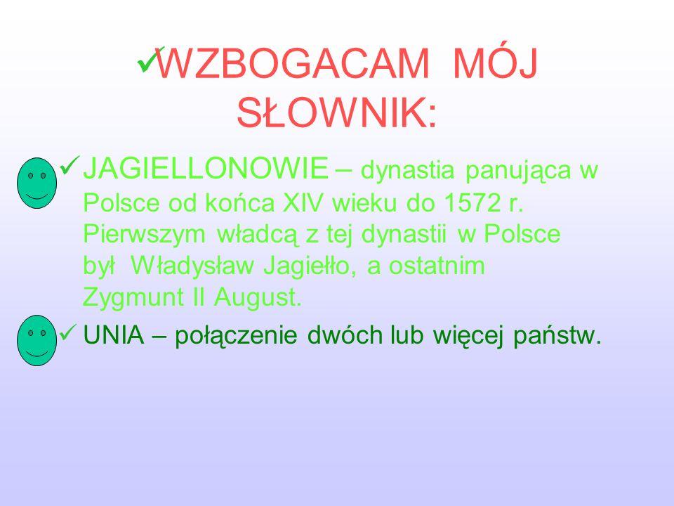 WZBOGACAM MÓJ SŁOWNIK: JAGIELLONOWIE – dynastia panująca w Polsce od końca XIV wieku do 1572 r.