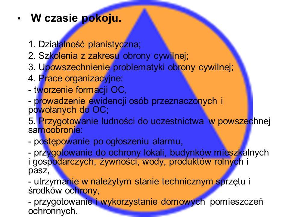 W czasie pokoju.1. Działalność planistyczna; 2. Szkolenia z zakresu obrony cywilnej; 3.
