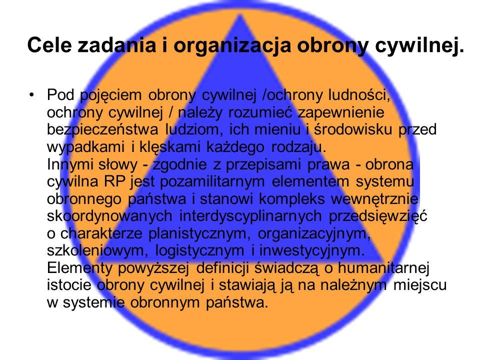 Cele zadania i organizacja obrony cywilnej.