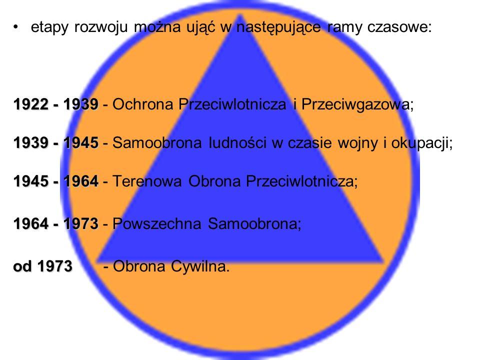 etapy rozwoju można ująć w następujące ramy czasowe: 1922 - 1939 1922 - 1939 - Ochrona Przeciwlotnicza i Przeciwgazowa; 1939 - 1945 1939 - 1945 - Samoobrona ludności w czasie wojny i okupacji; 1945 - 1964 1945 - 1964 - Terenowa Obrona Przeciwlotnicza; 1964 - 1973 1964 - 1973 - Powszechna Samoobrona; od 1973 od 1973 - Obrona Cywilna.