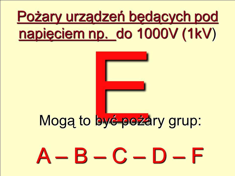 E Pożary urządzeń będących pod napięciem np. do 1000V (1kV) Mogą to być pożary grup: A – B – C – D – F