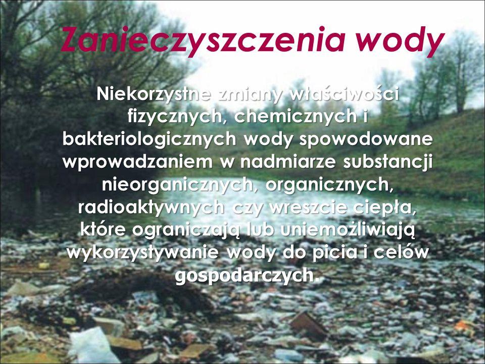 Zanieczyszczenia wody Niekorzystne zmiany właściwości fizycznych, chemicznych i bakteriologicznych wody spowodowane wprowadzaniem w nadmiarze substancji nieorganicznych, organicznych, radioaktywnych czy wreszcie ciepła, które ograniczają lub uniemożliwiają wykorzystywanie wody do picia i celów gospodarczych Niekorzystne zmiany właściwości fizycznych, chemicznych i bakteriologicznych wody spowodowane wprowadzaniem w nadmiarze substancji nieorganicznych, organicznych, radioaktywnych czy wreszcie ciepła, które ograniczają lub uniemożliwiają wykorzystywanie wody do picia i celów gospodarczych.