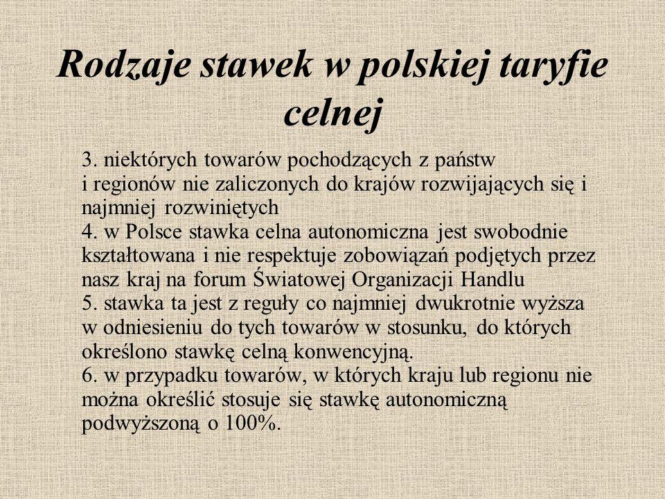 Rodzaje stawek w polskiej taryfie celnej 3. niektórych towarów pochodzących z państw i regionów nie zaliczonych do krajów rozwijających się i najmniej