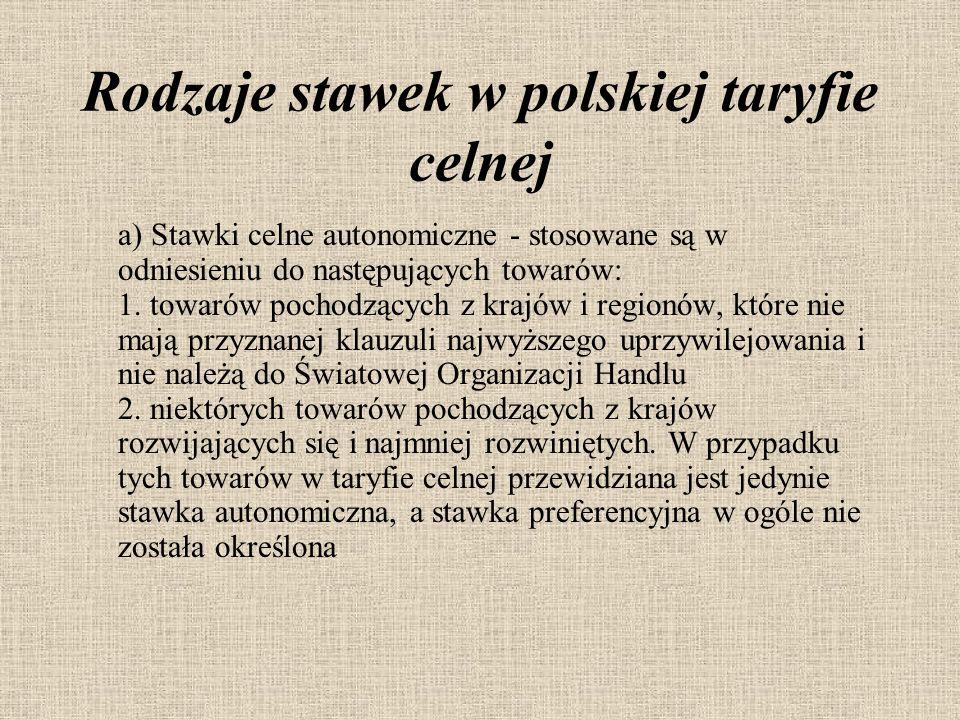 Rodzaje stawek w polskiej taryfie celnej a) Stawki celne autonomiczne - stosowane są w odniesieniu do następujących towarów: 1.