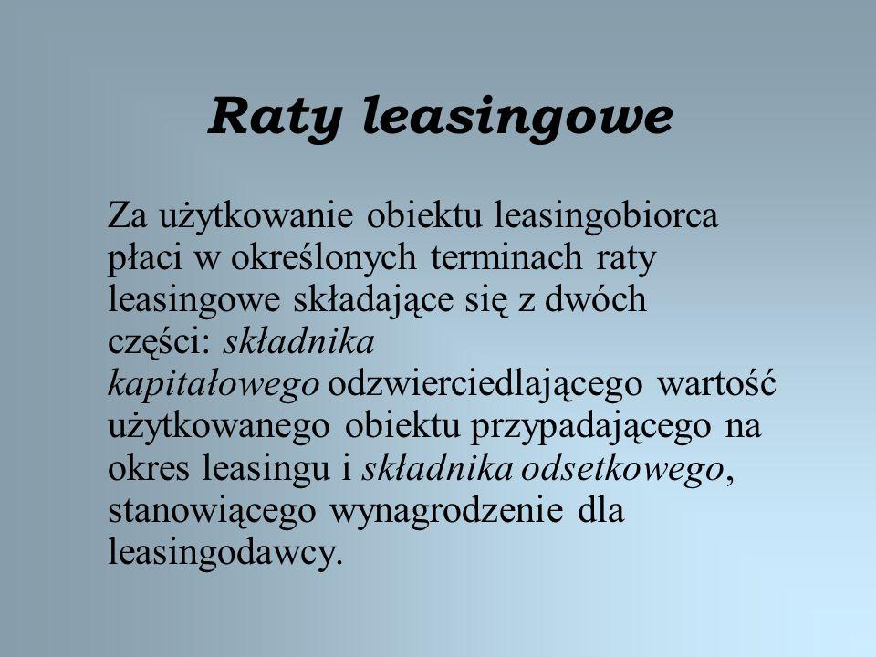 Raty leasingowe Za użytkowanie obiektu leasingobiorca płaci w określonych terminach raty leasingowe składające się z dwóch części: składnika kapitałow