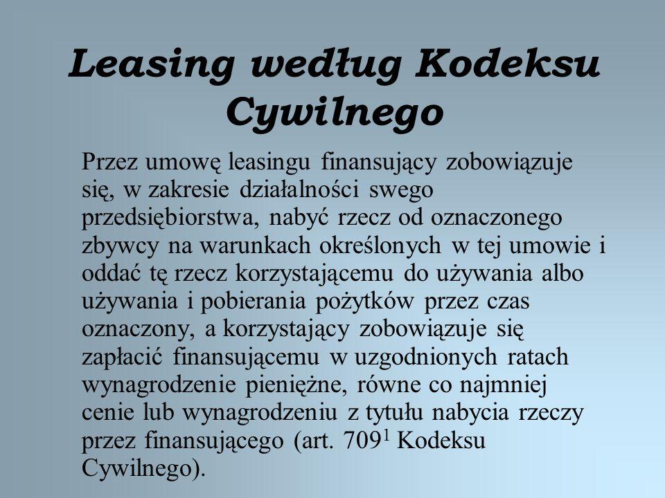 Leasing według Kodeksu Cywilnego Przez umowę leasingu finansujący zobowiązuje się, w zakresie działalności swego przedsiębiorstwa, nabyć rzecz od ozna