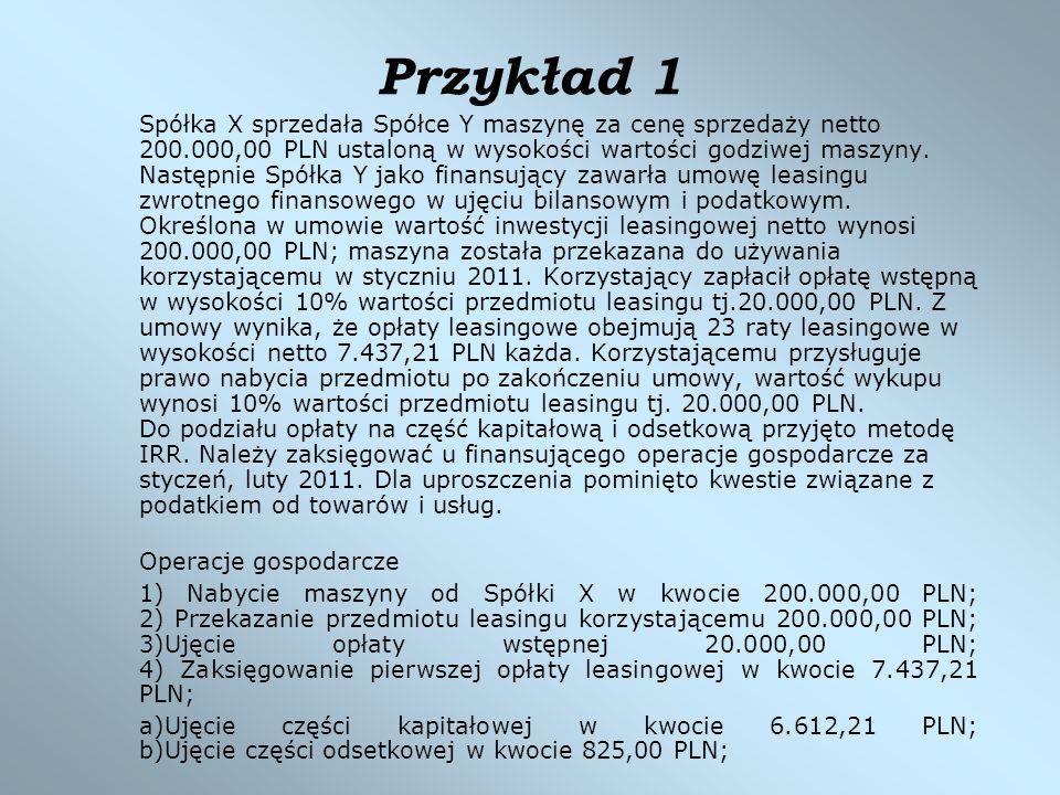 Przykład 1 Spółka X sprzedała Spółce Y maszynę za cenę sprzedaży netto 200.000,00 PLN ustaloną w wysokości wartości godziwej maszyny. Następnie Spółka