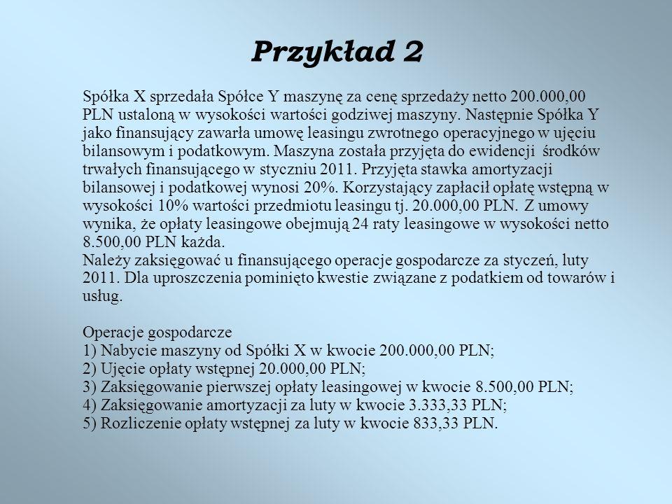 Przykład 2 Spółka X sprzedała Spółce Y maszynę za cenę sprzedaży netto 200.000,00 PLN ustaloną w wysokości wartości godziwej maszyny. Następnie Spółka