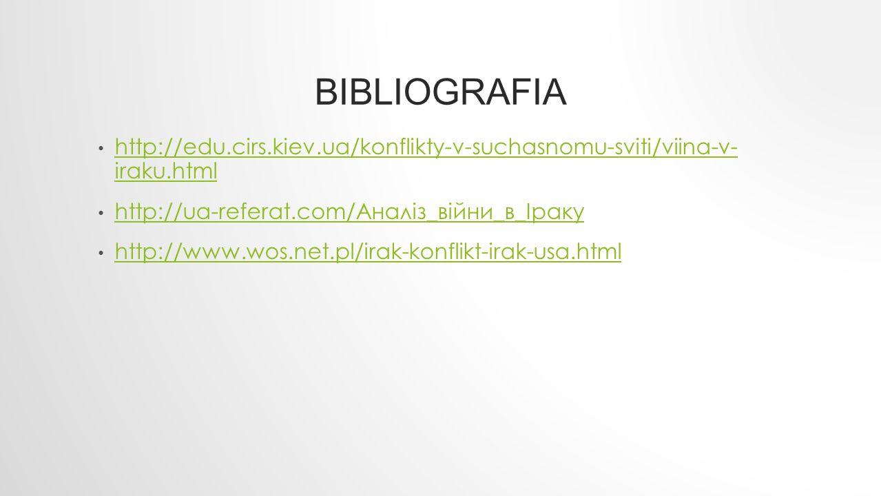 BIBLIOGRAFIA http://edu.cirs.kiev.ua/konflikty-v-suchasnomu-sviti/viina-v- iraku.html http://edu.cirs.kiev.ua/konflikty-v-suchasnomu-sviti/viina-v- ir
