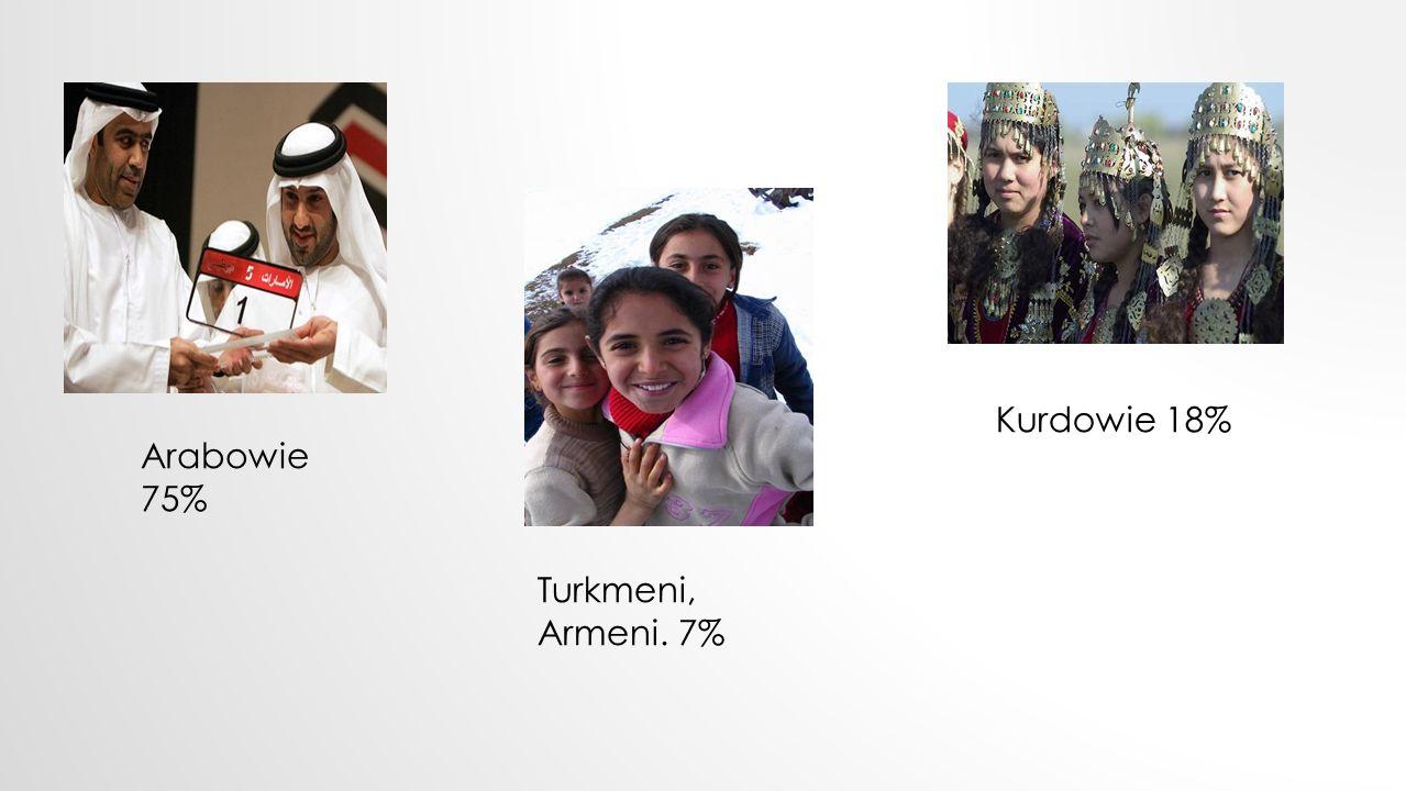 Arabowie 75% Turkmeni, Armeni. 7% Kurdowie 18%