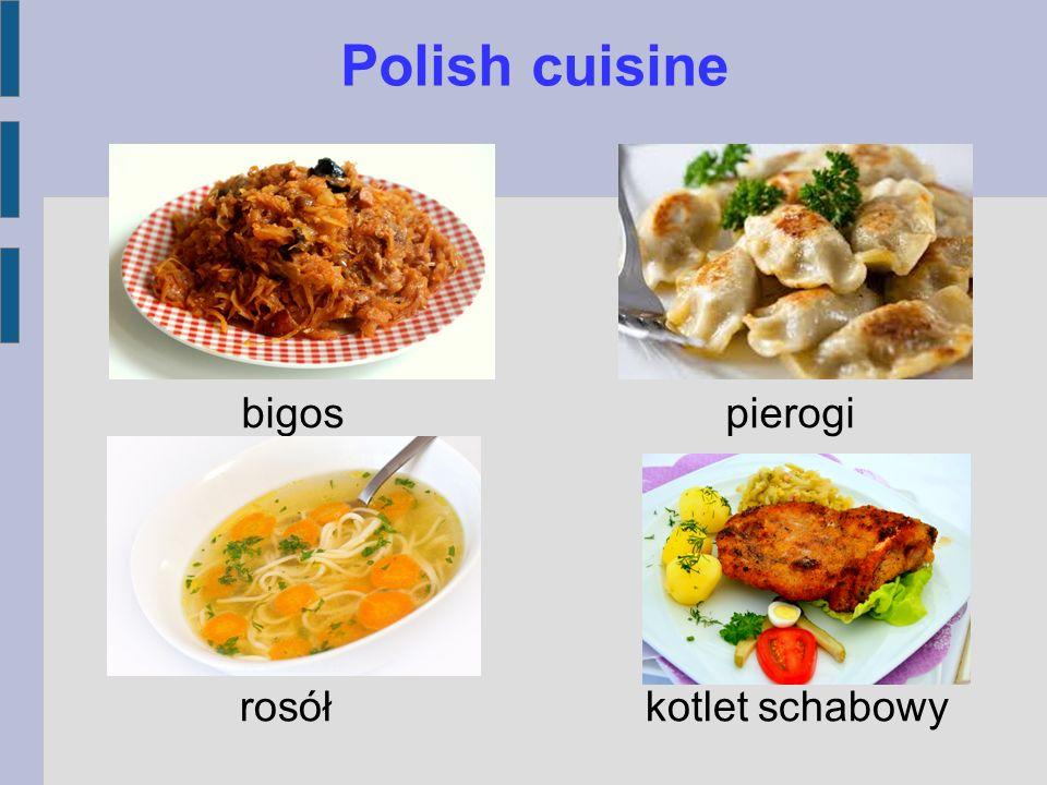 Polish cuisine rosół kotlet schabowy bigos pierogi