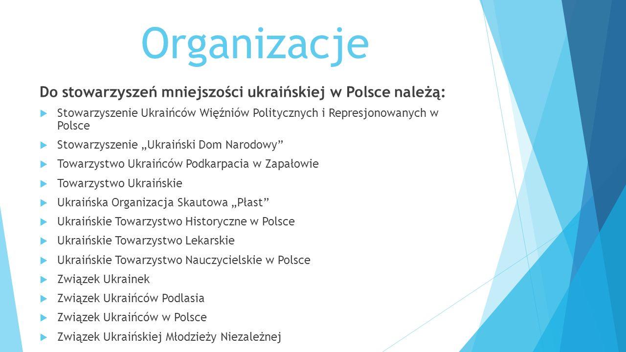 Organizacje Do stowarzyszeń mniejszości ukraińskiej w Polsce należą:  Stowarzyszenie Ukraińców Więźniów Politycznych i Represjonowanych w Polsce  St
