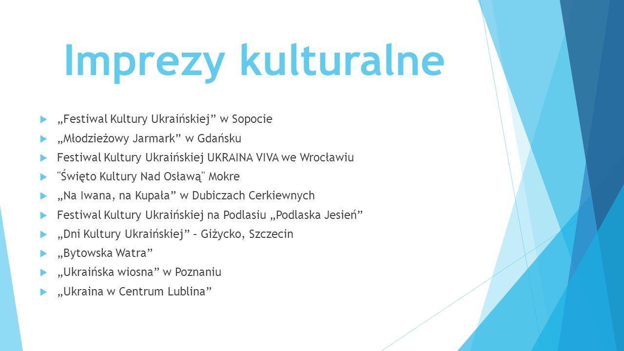 """Imprezy kulturalne  """"Festiwal Kultury Ukraińskiej"""" w Sopocie  """"Młodzieżowy Jarmark"""" w Gdańsku  Festiwal Kultury Ukraińskiej UKRAINA VIVA we Wrocław"""