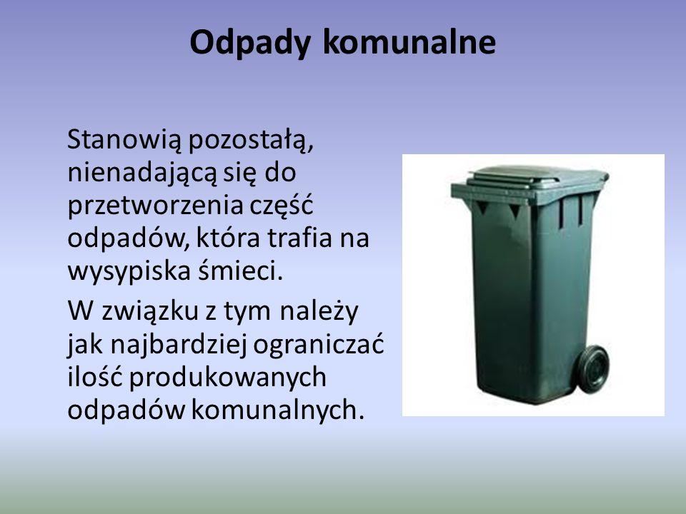 Odpady komunalne Stanowią pozostałą, nienadającą się do przetworzenia część odpadów, która trafia na wysypiska śmieci. W związku z tym należy jak najb