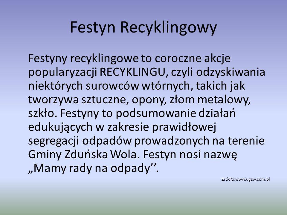 Festyn Recyklingowy Festyny recyklingowe to coroczne akcje popularyzacji RECYKLINGU, czyli odzyskiwania niektórych surowców wtórnych, takich jak tworz
