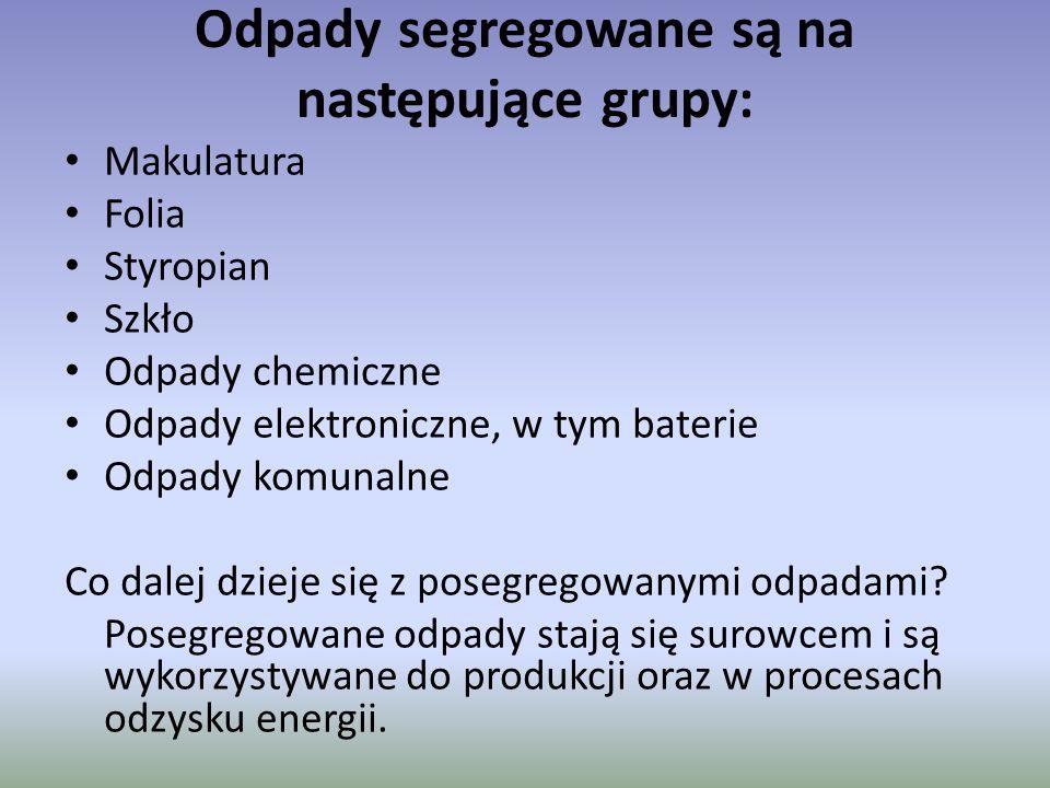 Odpady segregowane są na następujące grupy: Makulatura Folia Styropian Szkło Odpady chemiczne Odpady elektroniczne, w tym baterie Odpady komunalne Co