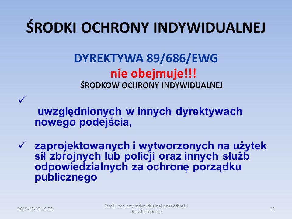 ŚRODKI OCHRONY INDYWIDUALNEJ DYREKTYWA 89/686/EWG nie obejmuje!!! ŚRODKOW OCHRONY INDYWIDUALNEJ uwzględnionych w innych dyrektywach nowego podejścia,