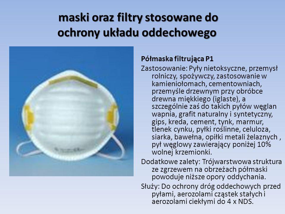 maski oraz filtry stosowane do ochrony układu oddechowego maski oraz filtry stosowane do ochrony układu oddechowego Półmaska filtrująca P1 Zastosowani