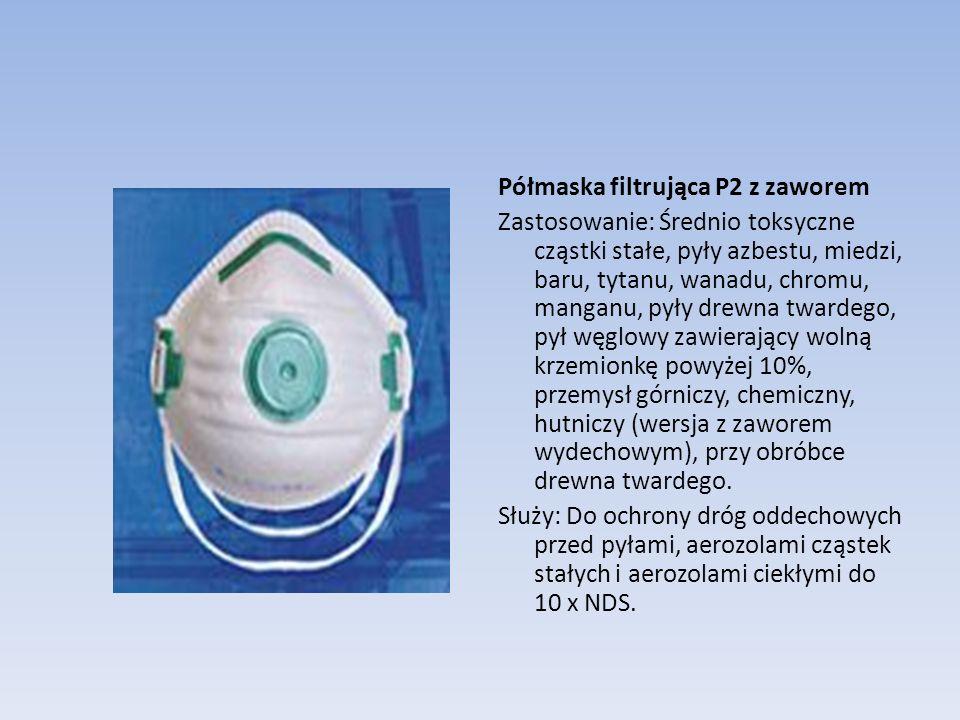 Półmaska filtrująca P2 z zaworem Zastosowanie: Średnio toksyczne cząstki stałe, pyły azbestu, miedzi, baru, tytanu, wanadu, chromu, manganu, pyły drew