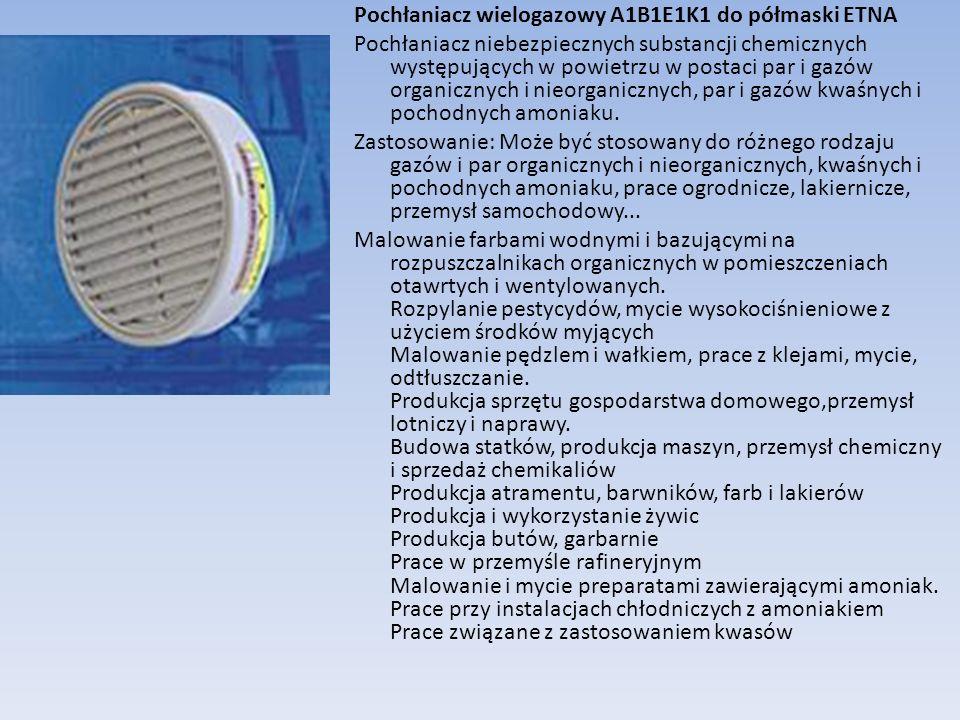 Pochłaniacz wielogazowy A1B1E1K1 do półmaski ETNA Pochłaniacz niebezpiecznych substancji chemicznych występujących w powietrzu w postaci par i gazów o