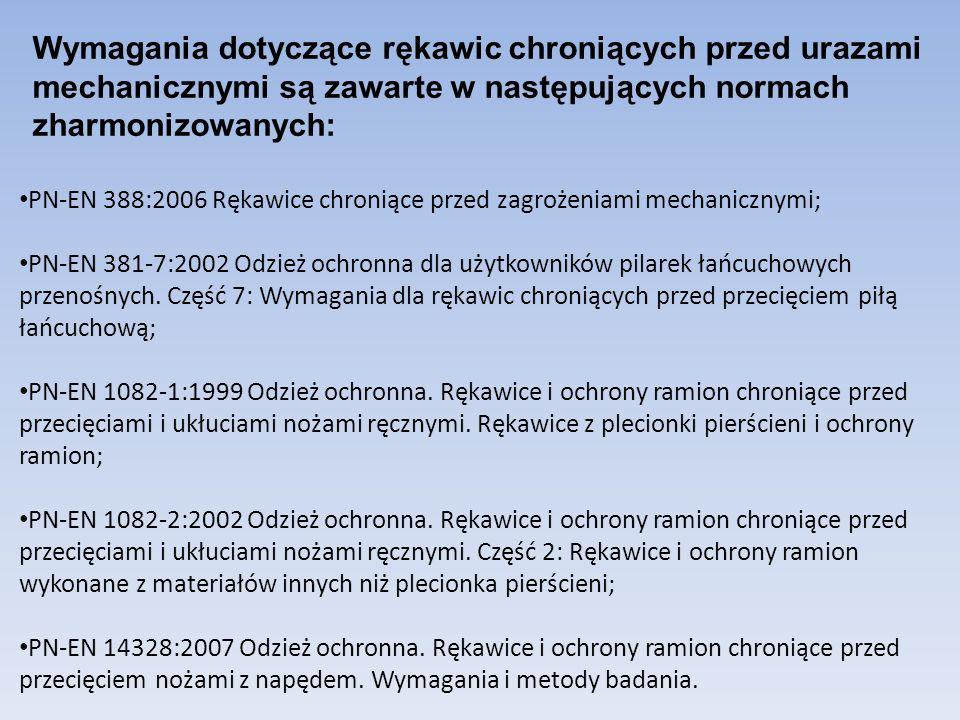 PN-EN 388:2006 Rękawice chroniące przed zagrożeniami mechanicznymi; PN-EN 381-7:2002 Odzież ochronna dla użytkowników pilarek łańcuchowych przenośnych