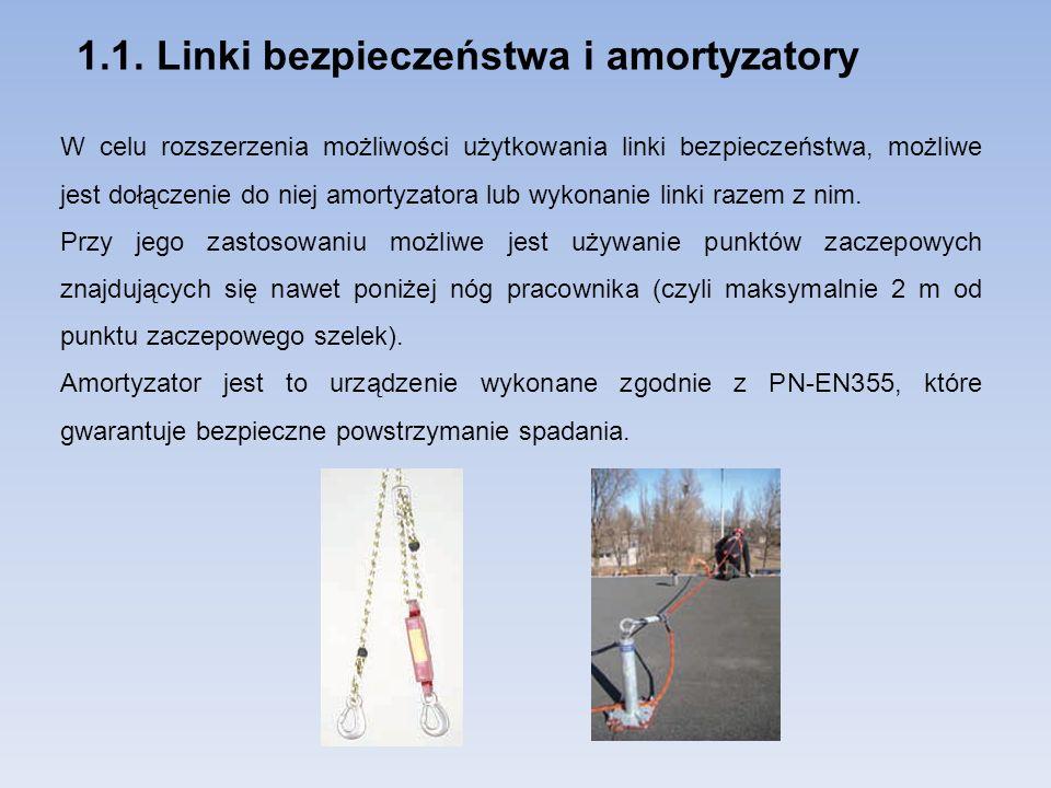 1.1. Linki bezpieczeństwa i amortyzatory W celu rozszerzenia możliwości użytkowania linki bezpieczeństwa, możliwe jest dołączenie do niej amortyzatora