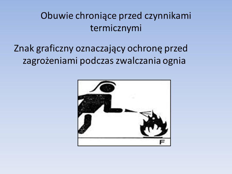 Obuwie chroniące przed czynnikami termicznymi Znak graficzny oznaczający ochronę przed zagrożeniami podczas zwalczania ognia