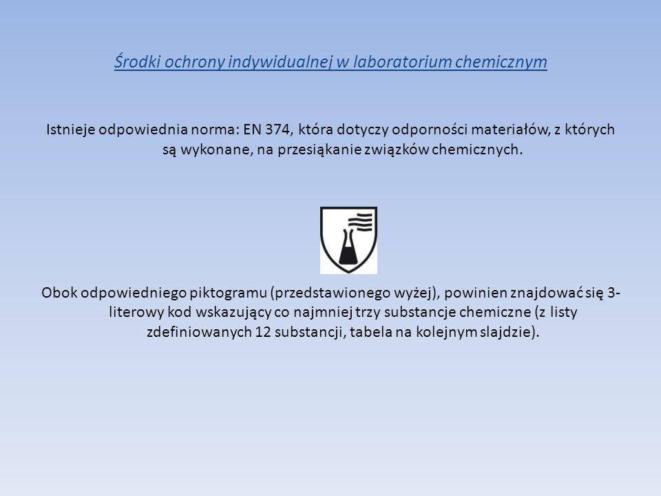 Środki ochrony indywidualnej w laboratorium chemicznym Istnieje odpowiednia norma: EN 374, która dotyczy odporności materiałów, z których są wykonane,