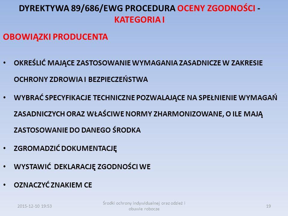 DYREKTYWA 89/686/EWG PROCEDURA OCENY ZGODNOŚCI - KATEGORIA I OBOWIĄZKI PRODUCENTA OKREŚLIĆ MAJĄCE ZASTOSOWANIE WYMAGANIA ZASADNICZE W ZAKRESIE OCHRONY