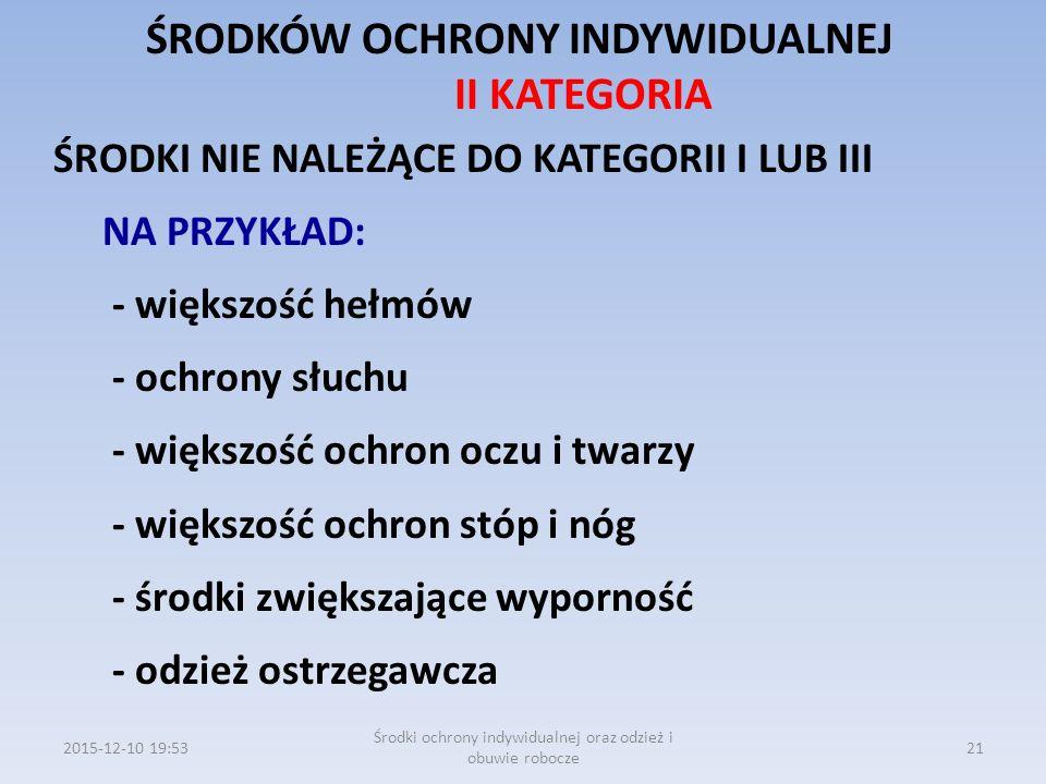 ŚRODKÓW OCHRONY INDYWIDUALNEJ II KATEGORIA ŚRODKI NIE NALEŻĄCE DO KATEGORII I LUB III NA PRZYKŁAD: - większość hełmów - ochrony słuchu - większość och