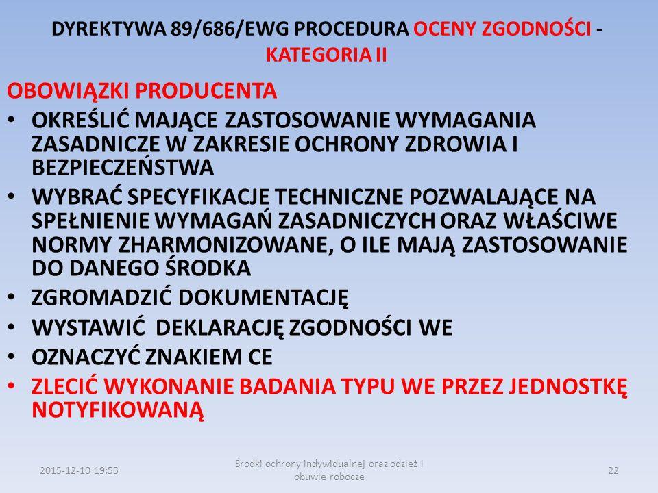 DYREKTYWA 89/686/EWG PROCEDURA OCENY ZGODNOŚCI - KATEGORIA II OBOWIĄZKI PRODUCENTA OKREŚLIĆ MAJĄCE ZASTOSOWANIE WYMAGANIA ZASADNICZE W ZAKRESIE OCHRON