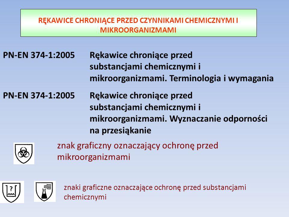 RĘKAWICE CHRONIĄCE PRZED CZYNNIKAMI CHEMICZNYMI I MIKROORGANIZMAMI PN-EN 374-1:2005 Rękawice chroniące przed substancjami chemicznymi i mikroorganizma