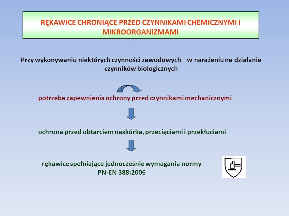 RĘKAWICE CHRONIĄCE PRZED CZYNNIKAMI CHEMICZNYMI I MIKROORGANIZMAMI potrzeba zapewnienia ochrony przed czynnikami mechanicznymi Przy wykonywaniu niektó