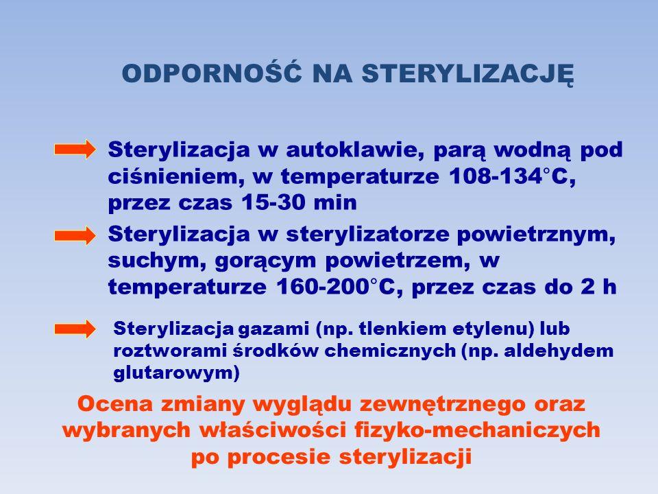 ODPORNOŚĆ NA STERYLIZACJĘ Sterylizacja w autoklawie, parą wodną pod ciśnieniem, w temperaturze 108-134°C, przez czas 15-30 min Sterylizacja w steryliz
