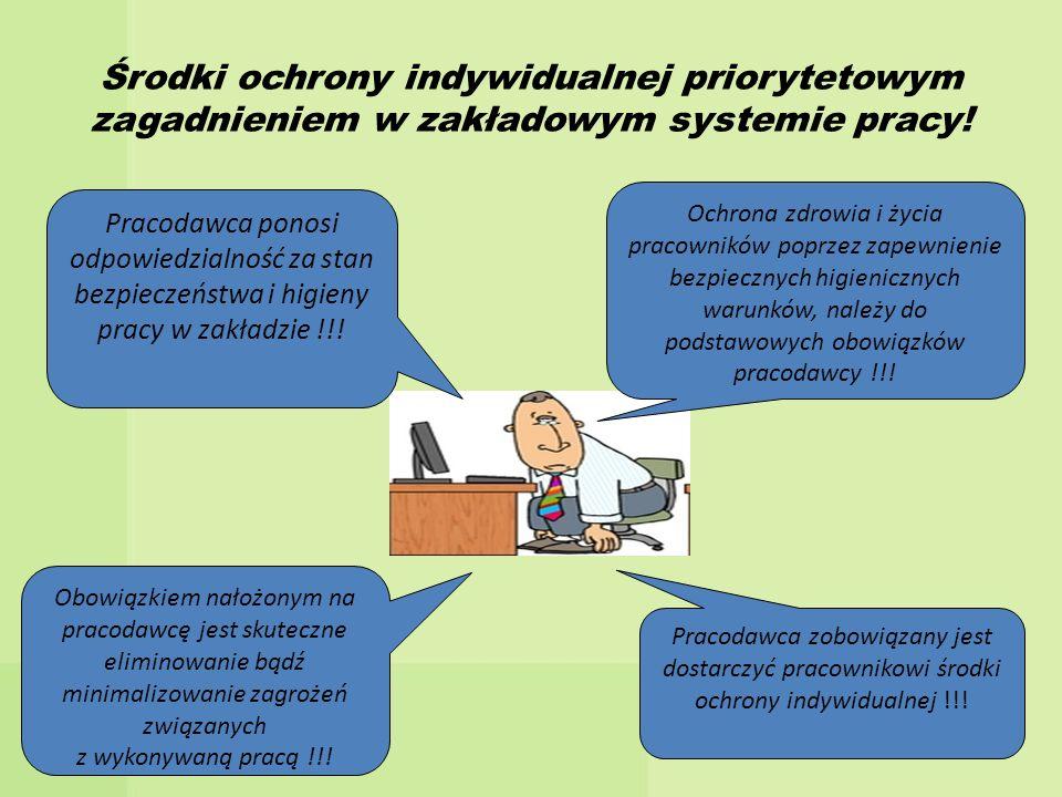 Środki ochrony indywidualnej w laboratorium chemicznym Wymagania szczegółowe dotyczące odzieży chroniącej przed czynnikami chemicznymi sprecyzowane są w poniższych normach, odnoszących się do poszczególnych typów odzieży: PN-EN 943-1:2005/AC:2006, PN-EN 943-2:2005, PN-EN 14605+A1:2009, PN-EN ISO 13982-1:2008, PN-EN ISO 13034+A1:2009.