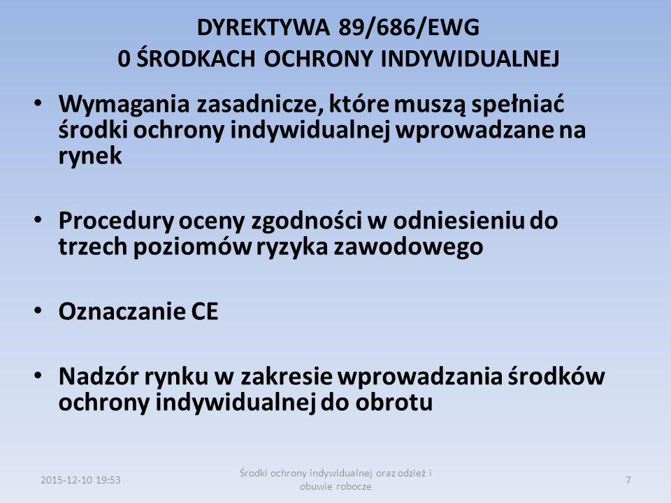 DYREKTYWA 89/686/EWG 0 ŚRODKACH OCHRONY INDYWIDUALNEJ- TEKST ZASADNICZY -ZAKRES -DEFINICJA -WPROWADZANIE DO OBROTU I SWOBODNY PRZEPŁYW -PROCEDURY OCENY ZGODNOŚCI -BADANIE TYPU WE -KONTROLA PRODUKOWANYCH ŚRODKÓW OCHRONY INDYWIDUALNEJ -DEKLARACJA ZGODNOŚCI WE -OZNACZENIE CE -KLAUZULE ZABEZPIECZAJĄCE 2015-12-10 19:568 Środki ochrony indywidualnej oraz odzież i obuwie robocze