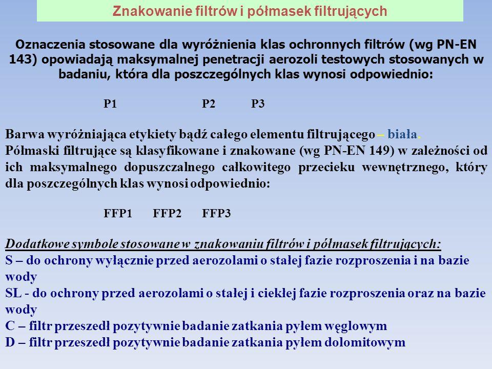 Oznaczenia stosowane dla wyróżnienia klas ochronnych filtrów (wg PN-EN 143) opowiadają maksymalnej penetracji aerozoli testowych stosowanych w badaniu