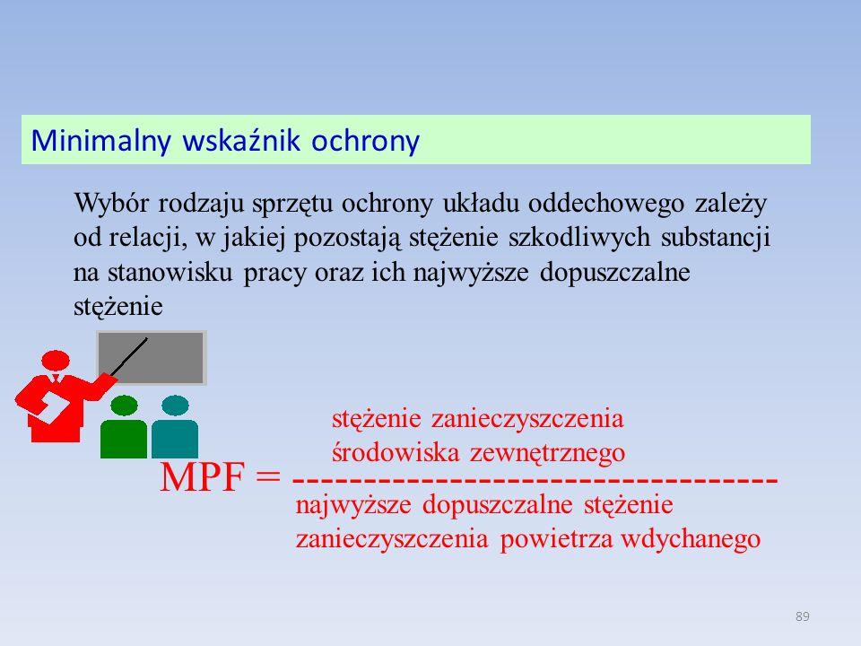 89 Wybór rodzaju sprzętu ochrony układu oddechowego zależy od relacji, w jakiej pozostają stężenie szkodliwych substancji na stanowisku pracy oraz ich