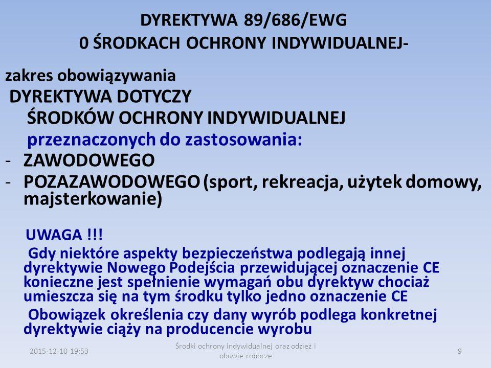DYREKTYWA 89/686/EWG 0 ŚRODKACH OCHRONY INDYWIDUALNEJ- zakres obowiązywania DYREKTYWA DOTYCZY ŚRODKÓW OCHRONY INDYWIDUALNEJ przeznaczonych do zastosow