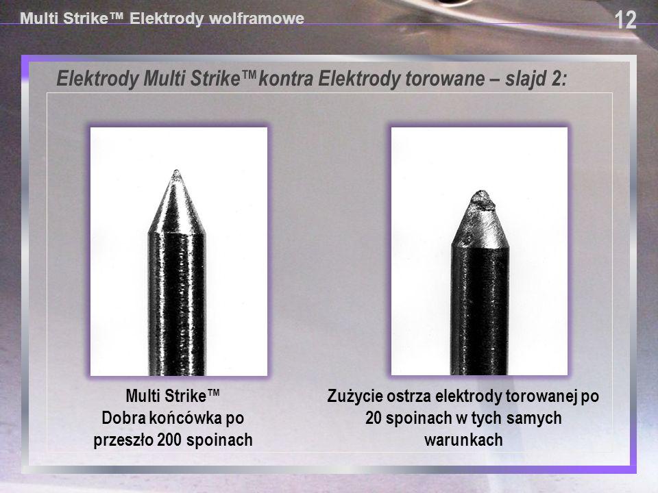 12 Multi Strike™ Elektrody wolframowe Elektrody Multi Strike™kontra Elektrody torowane – slajd 2: Zużycie ostrza elektrody torowanej po 20 spoinach w