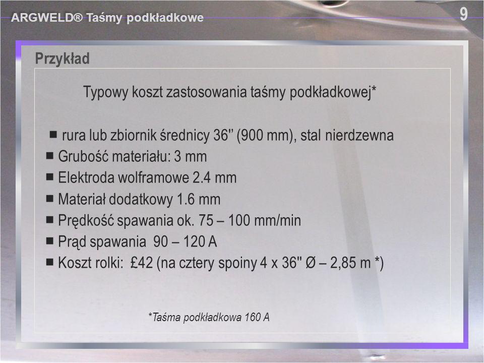 Wyniki ARGWELD® Taśmy podkładkowe 17 Typowa spoina wykonana na taśmie podkładkowej