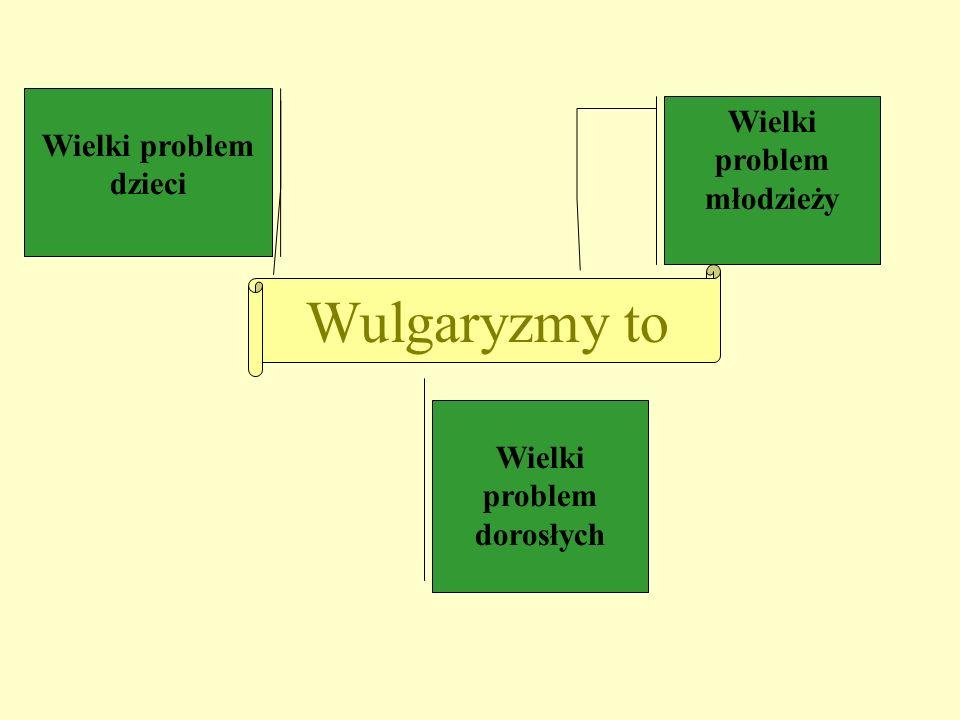 Wulgaryzmy to Wielki problem dzieci Wielki problem młodzieży Wielki problem dorosłych