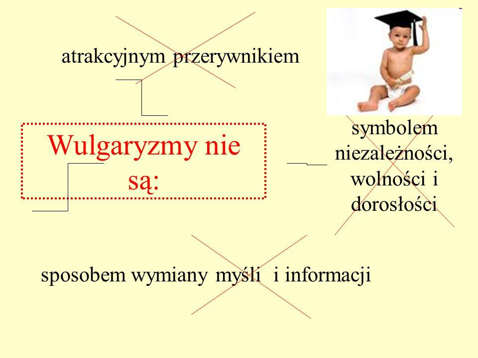 sposobem wymiany myśli i informacji Wulgaryzmy nie są: atrakcyjnym przerywnikiem symbolem niezależności, wolności i dorosłości