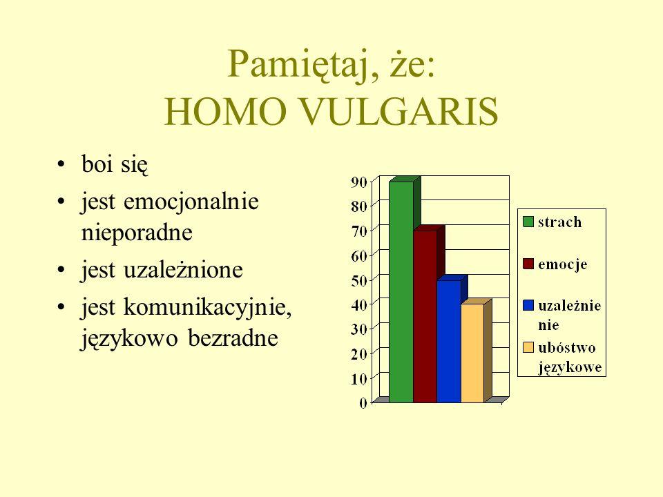 Pamiętaj, że: HOMO VULGARIS boi się jest emocjonalnie nieporadne jest uzależnione jest komunikacyjnie, językowo bezradne