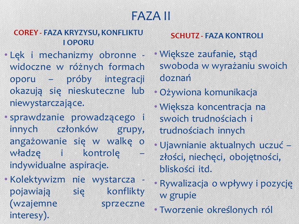 FAZA I c.d. -Dominuje potrzeba zależności i egocentryzmu (koncentracja na sobie) -Poszukiwanie oparcia w kimś bardziej doświadczonym lub bardziej dyna