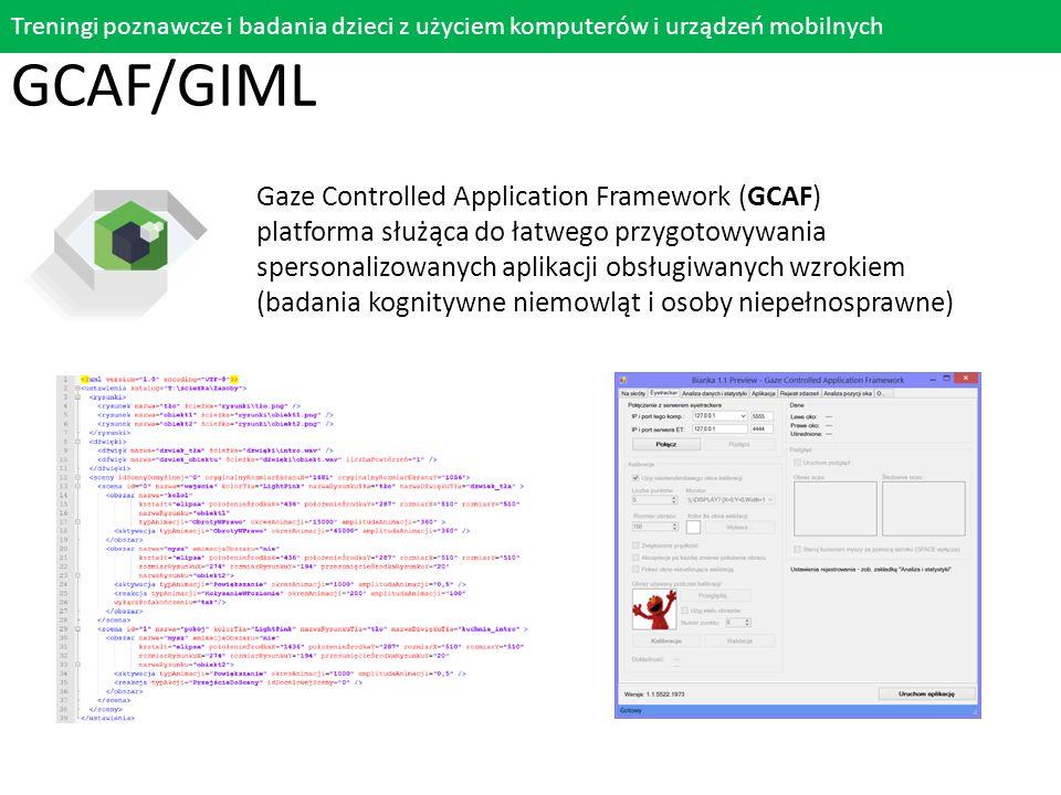 Gaze Controlled Application Framework (GCAF) platforma służąca do łatwego przygotowywania spersonalizowanych aplikacji obsługiwanych wzrokiem (badania