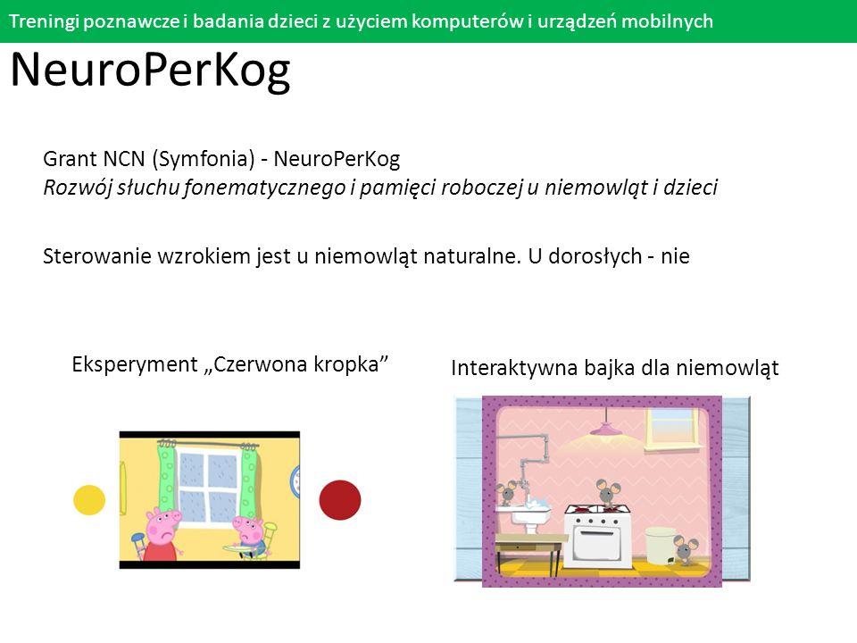 """Eksperyment """"Czerwona kropka"""" Treningi poznawcze i badania dzieci z użyciem komputerów i urządzeń mobilnych NeuroPerKog Grant NCN (Symfonia) - NeuroPe"""