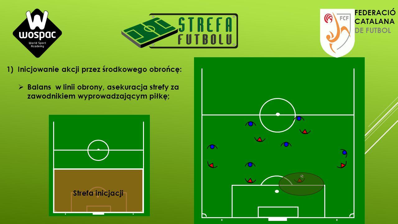 1)Inicjowanie akcji przez środkowego obrońcę:  Balans w linii obrony, asekuracja strefy za zawodnikiem wyprowadzającym piłkę; Strefa inicjacji FEDERA